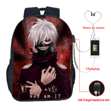 Tokyo Ghoul USB charging backpack fashion Anime school bags beautiful students