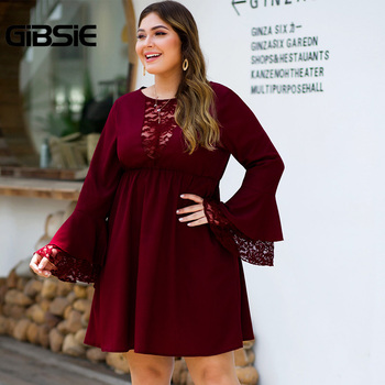 GIBSIE Plus Size Elegant Lace Patchwork Solid Dress Women O-Neck Long Sleeve High Waist Dresses Female Autumn A-line Vestidos