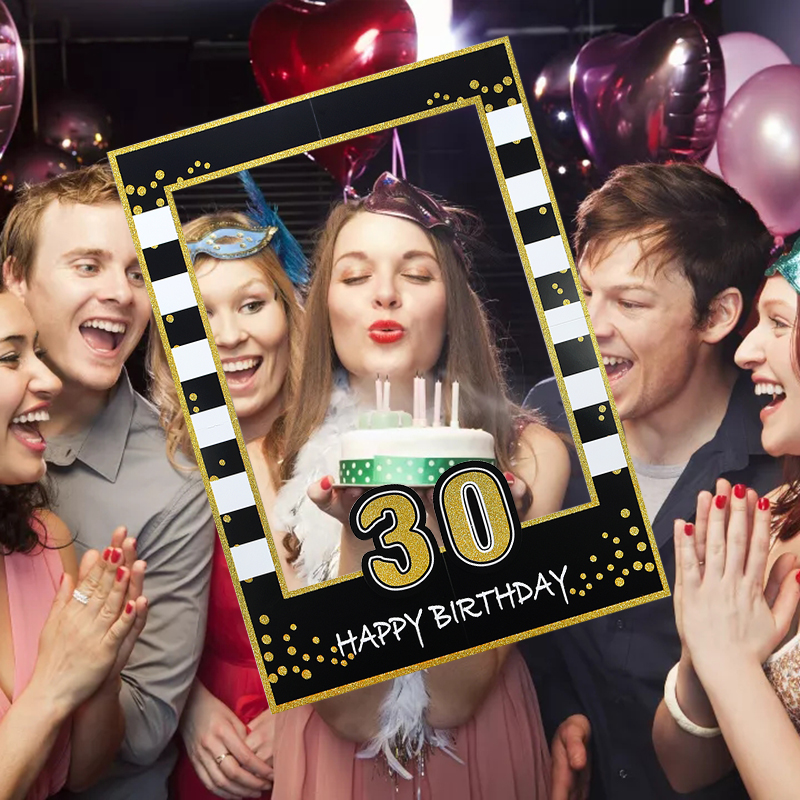 1st 18th 21th 30th 40th 50th <font><b>60th</b></font> <font><b>Birthday</b></font> Party Photo Booth Gold Black Photobooth Props Kids first <font><b>Birthday</b></font> Party <font><b>Decoration</b></font> image