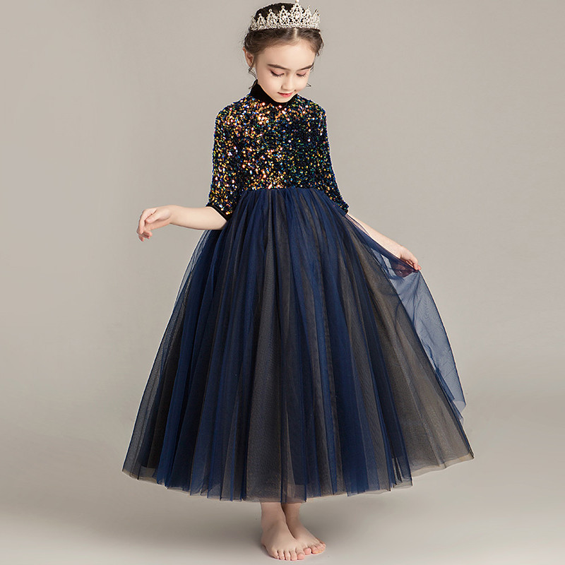 3~14Ys Children Girls High-Round Collar Half-Sleeves Evening Holiday Party Princess Prom Dress Kids Teens Piano Costumes Dress