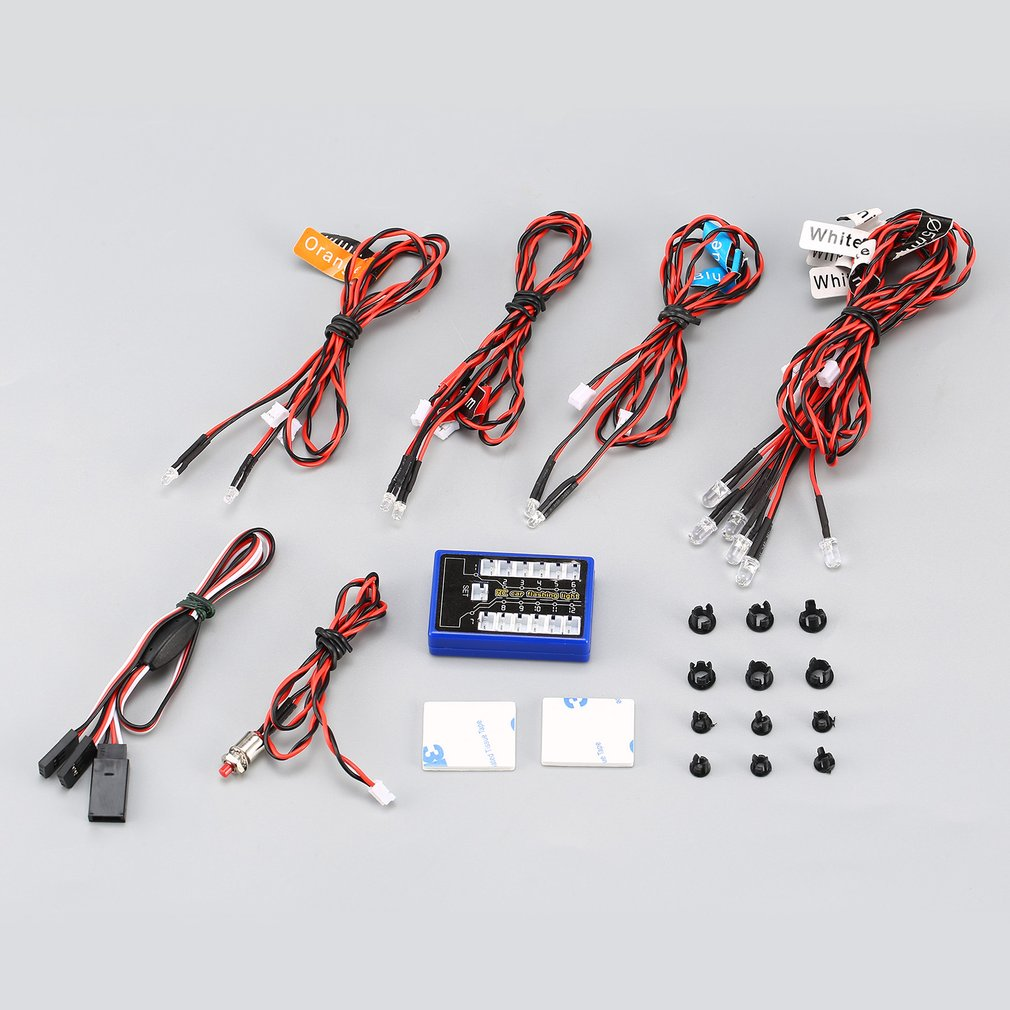 12 Ultra LED Flashing Bright Light Strobe Lamps Kit System For 1/10 1/8 RC Drift HSP TAMIYA CC01 4WD Axial SCX10 RC Car Truck