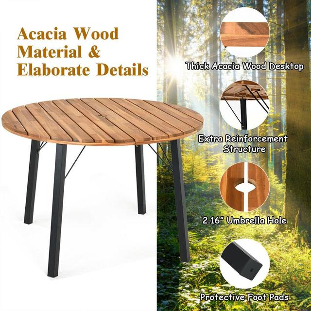 5PCS PatioRound Table w/Umbrella Hole  5