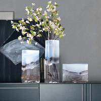 Modern Simple translucent glass vase Geometric Colored Hydroponic Handmade art Vases Scandinavian Home Decoration accessories