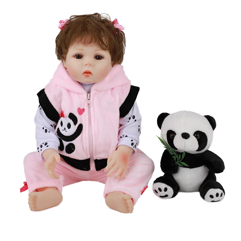 JULY'S SONG 48CM Baby Reborn Doll Full Silicone Realistic Newborn Baby Girl With Panda Clothes Bath Cute Play Toys Birthday Gift