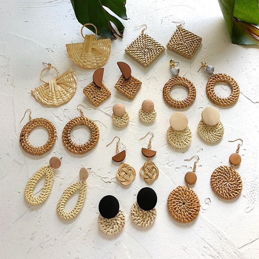 Handmade Bohemian Wooden Rattan Wicker Straw Drop Earrings for Women Girls Vintage Geometric Declaration Earrings