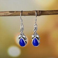 Fashion Small Dangle Earrings for women  Water drop Earring Blue Stone Vintage Ethnic Indian Jewelry Accessoires vintage ethnic leaf shape drop dangle earrings hanging blue stone beads earrings for women fashion wedding jewelry accessorries