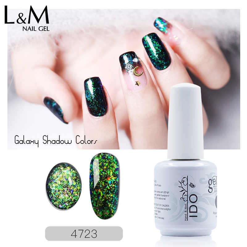 1 PC Ido Galaxy Shadow Seriesuv Rendam Off Gel Polandia Glitter Gel Nail Salon Base Hitam Paku Kuku Kecantikan tahan Lama