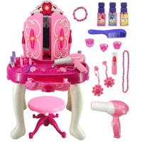 Rowsfire Girls Pretend Dresser Playset Simulation Hair Dryer Makeup Toys with Light and Sound