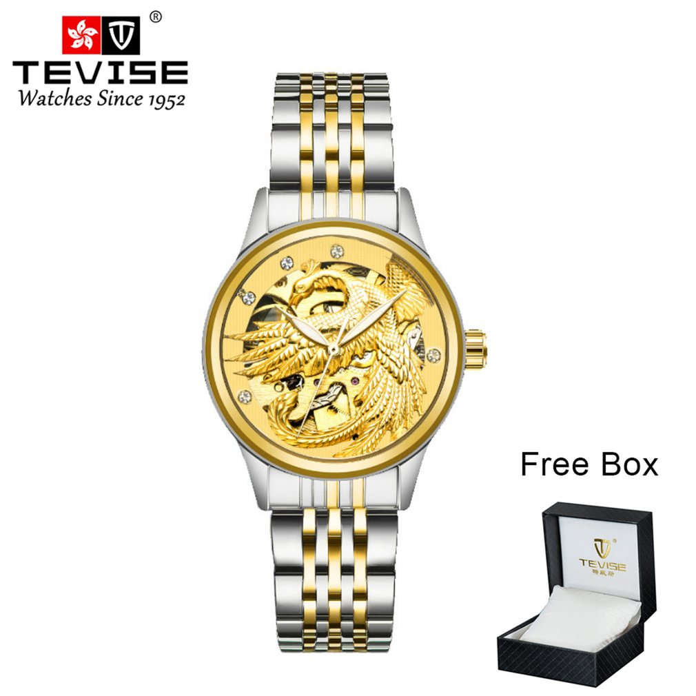TEVISE Mechanical Watch Golden White Tourbillon Gold White Automatic Watch Waterproof Watch Box Packaging