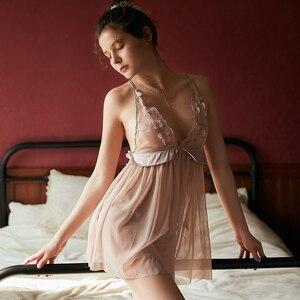 Image 4 - 妖精セクシーな視点レースディープ V 刺繍花睡眠ガウン下着超薄型誘惑ショートドレス