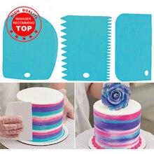 3 개/대 고품질 다채로운 다기능 불규칙한 치아 가장자리 DIY 크림 스크레이퍼 세트 케이크 금형 주방 도구