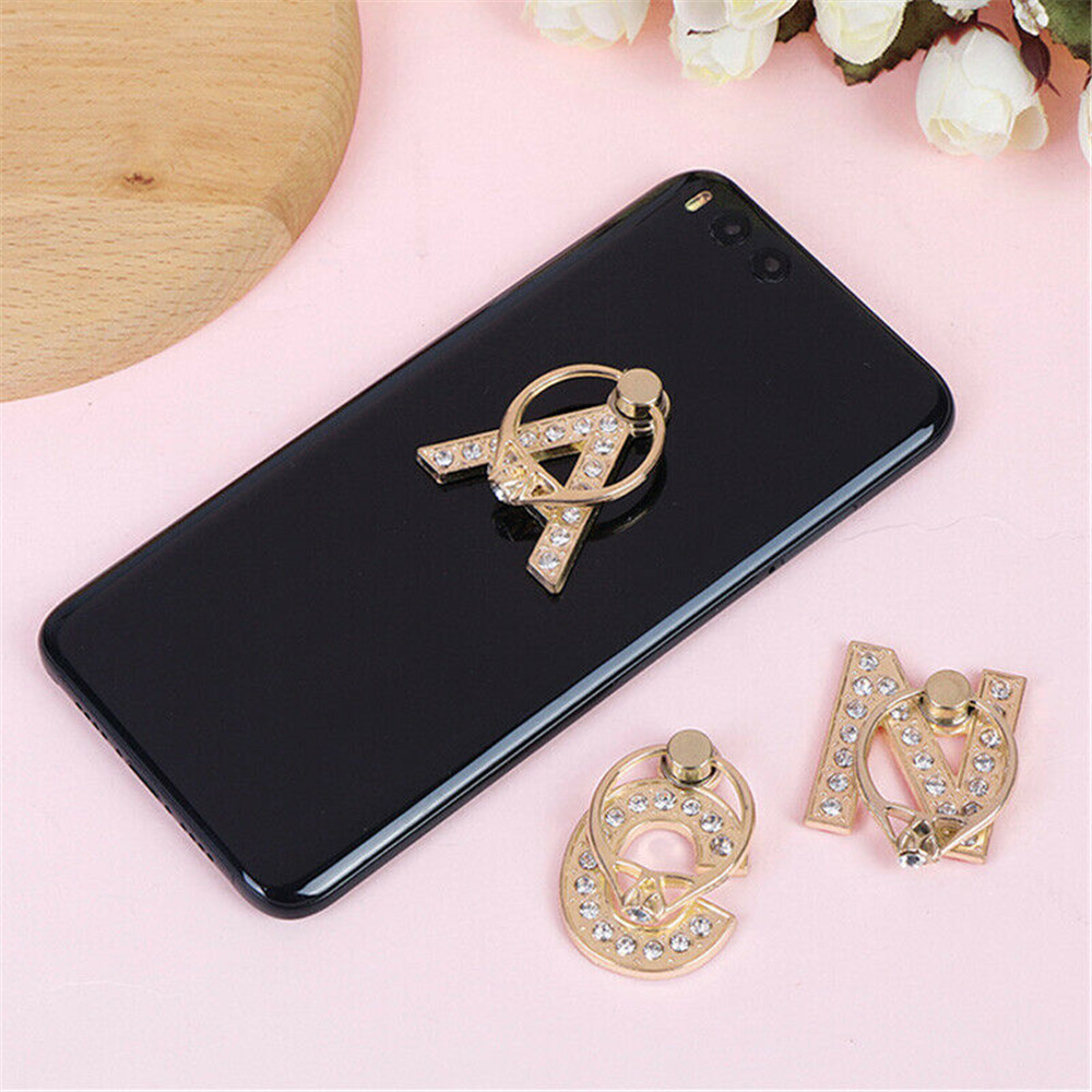 360 Rotation Universal Smartphone A-Z Letter Stand Multi-Function Cell Phone Bracket Alphabet Luxury Diamond Finger Ring Holder