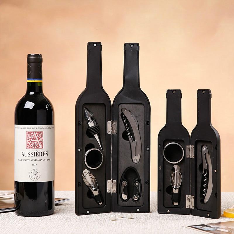 디럭스 와인 오프너 액세서리 선물 도구 세트 웨이터 코르크 따개 5 조각 와인 병 오프닝 키트 122801