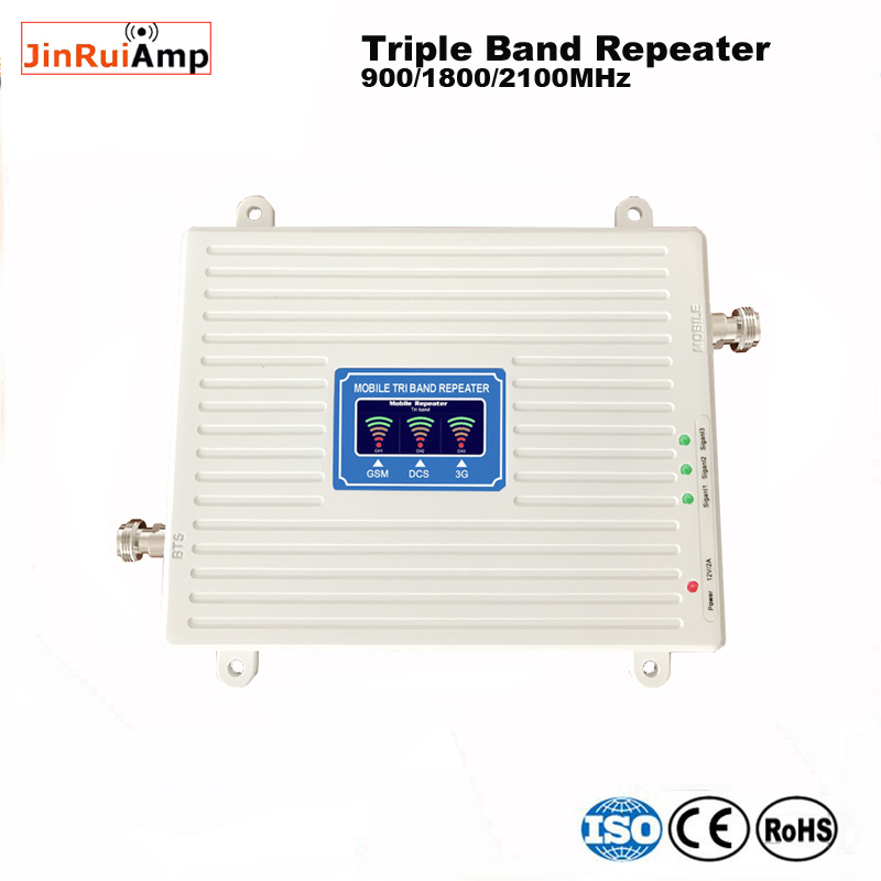 GSM DCS WCDMA 900+1800+2100 Tri Band Mobile Signal Booster 2G 3G 4G LTE Cellular Repeater GSM 3G 4G Cell Phone Booster