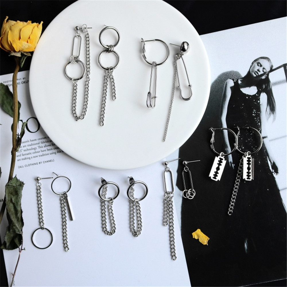 Punk Cheap Sliver Handcuffs Blade Gun Drop Earrings Creativity Jewelry Accessories Women Simple Fashion Cool Wholesale Pistols 3