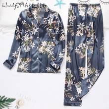 Conjunto de pijamas de cetim de seda feminino manga comprida pijamas botão-para baixo impressão pijamas loungewear feminino conjunto de pijamas mujer