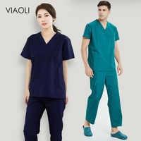 Viaoli Unisex Medical Uniforms Nursing Scrubs Clothes Short Sleeved tops pants Doctor shirt Brush hand clothing work clothes men