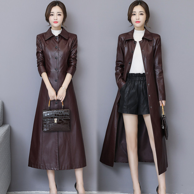 New Black and Red Leather Jacket Long Coat Women