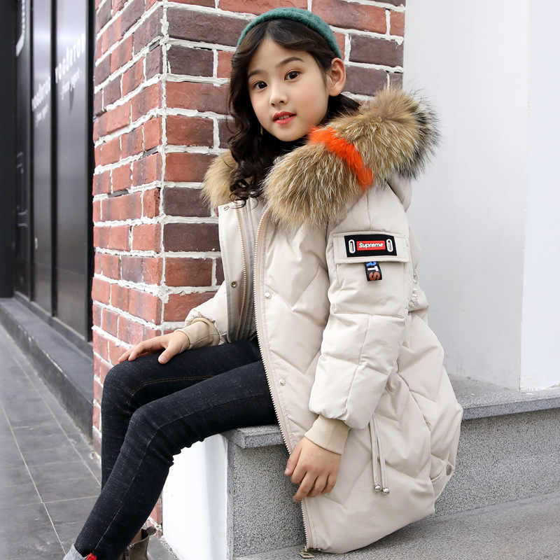 Kid Girl Winter Jacket Clothing Russian Winter -30 degreens Thick 5 -14 Years Down Colored Nature Fur Coat Children's Clothes