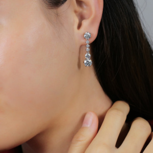 Image 5 - TransGems 5.2CTW  Moissanite Drop Dangle Earrings 14K White Gold for Women Wedding Engagement Birthday Anniversary Gifts