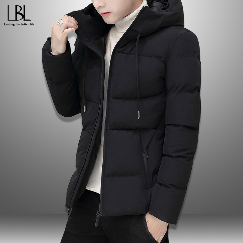 Winter Men's Thick Jacket Cotton-Padded Mens Coats Casual Hooded Jackets Slim Warm Windproof Coat Men New   Parka   Outwear Solid