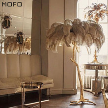 Nordic Luxury Ostrich Feather LED Floor Lamp Modern Decor Floor Light Gold Floor Lamps for Living Room Bedroom Art Standing Lamp