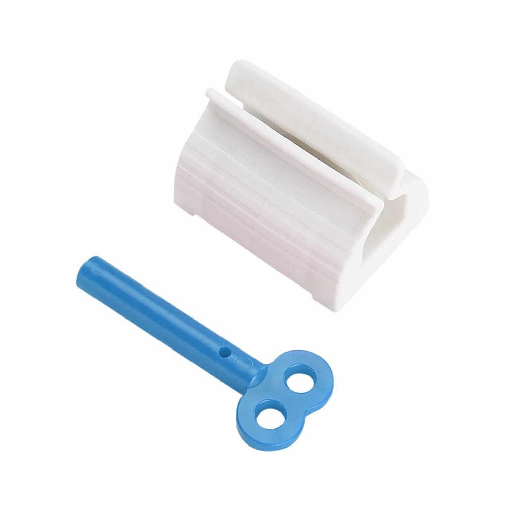 Qinghengyong Rodando Tubo de Pasta dent/ífrica dispensador del exprimidor Pasta de de Pasta de Dientes del sostenedor del Asiento Accesorios de ba/ño Azul