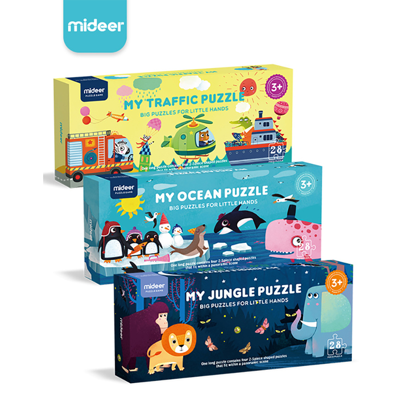 MiDeer 28pcs Puzzle Children Puzzles Jigsaw Puzzles Jungle  Education Gift Box Toys Kids Games  Baby Toy 3-6 Y Creative Toys 2