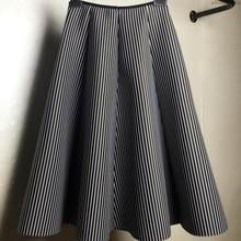 Skirt A Cotton Women Autumn And Winter Skirts Skirt Black And White Vertical Stripe Skirt(China)