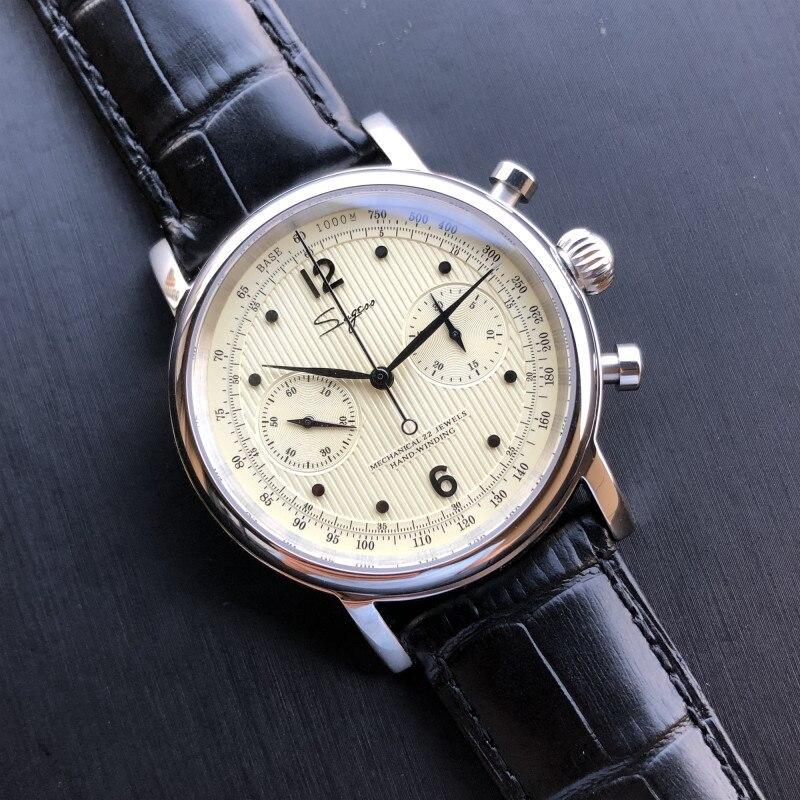 Antique Men Chronograph Watches NATO Sapphire Clock Luxury Original ST19 seagull Movement Men Pilot Mechanical Wrist Watch 1963 Mechanical Watches     - title=