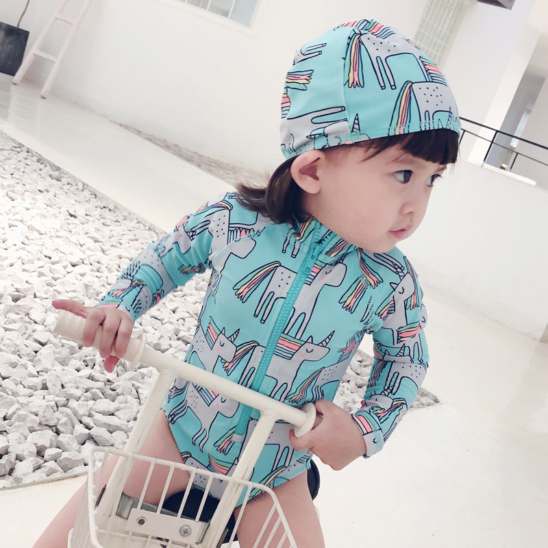 KID'S Swimwear Cute Unicorn Swimwear Long Sleeve Sun-resistant Baby GIRL'S Siamese Swimsuit Female Baby Learn Swimming