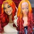 Парики из натуральных бразильских волос с двумя оттенками, Имбирные, оранжевые, предварительно выщипанные, волнистые, 180% бесклеевые парики ...