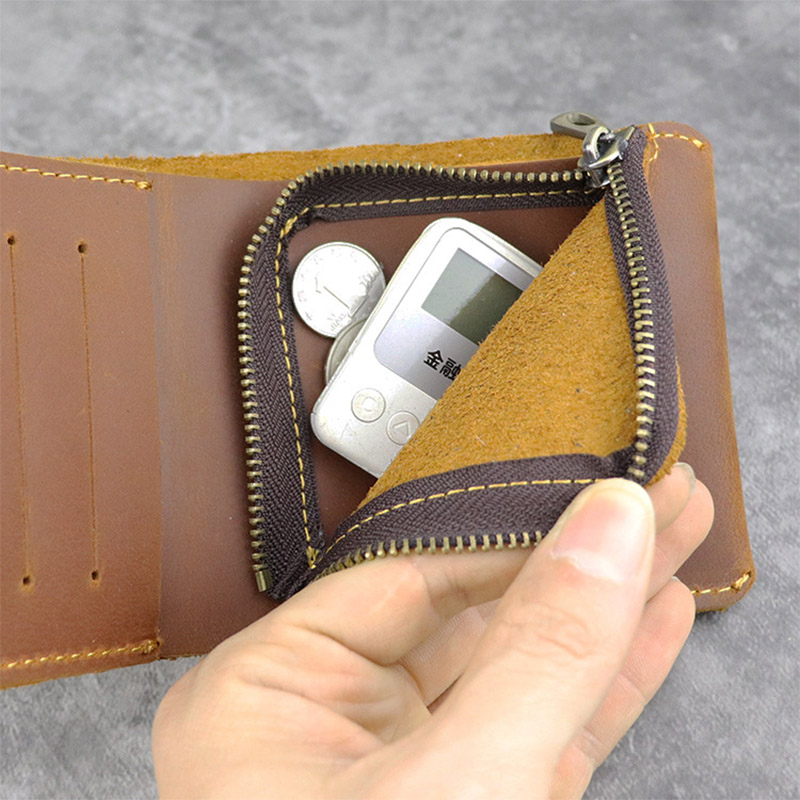 Crazy Horse 100% Genuine Leather Men Wallet Slim Short Coin Purse Walet Man Card Holder Male Small Coin Pocket Bifold Wallets