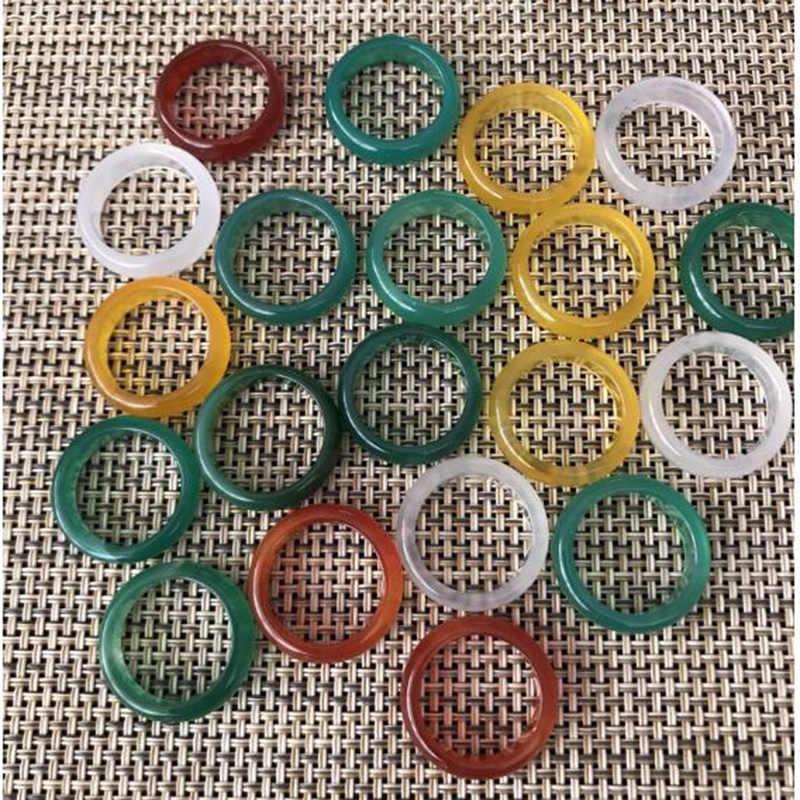 กว้าง 12 มม.ธรรมชาติสีเขียวสีแดงสีเหลืองสีขาวหยกแหวนผู้หญิงผู้ชาย Lucky แหวน 9-10 # charm เครื่องประดับของขวัญ