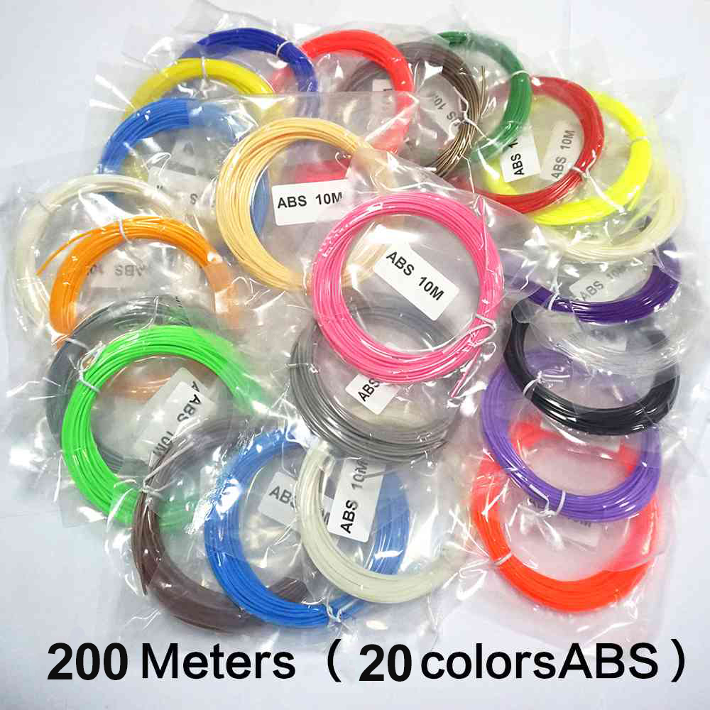 <font><b>3D</b></font> Printer Filament <font><b>3D</b></font> Pen <font><b>ABS</b></font> 200 Meters 20 Colors <font><b>1.75</b></font> <font><b>3D</b></font> Printer Pen Filament Extruder Plastic Threads Gadget <font><b>ABS</b></font> <font><b>3D</b></font> Filament image