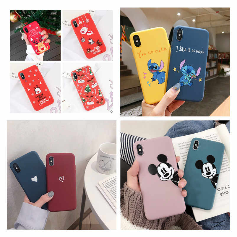 Luxury Cute Protect Soft TPU Case For iPhone 8 7 Plus Matte Back Coque For iPhone X XS Max XR 6 6s 6 S 5 5s se Cartoon Cases