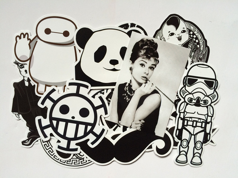 100pcs/lot DIY Fashion Trend Funny Doodle Kuso Culture  Black And White Decal Skin Sticker Toy For Laptop Luggage Phone Car
