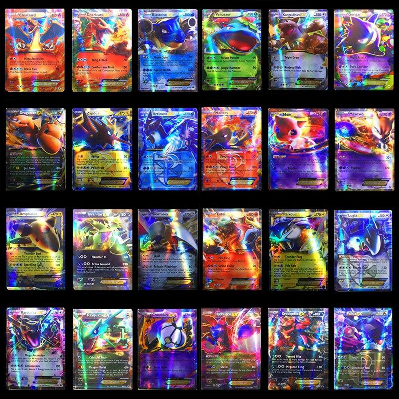 200 pièces/ensemble Anime jeu Carte à collectionner 60 100 pièces brillant Pokemons cartes MEGA GX pas de répétition bataille Carte enfants garçons jouets cadeaux avec boîte