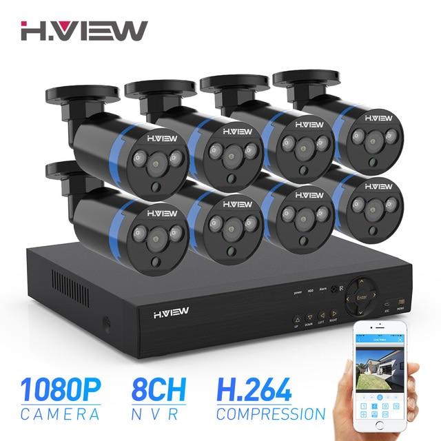 H. View камера безопасности 8ch комплект видеонаблюдения 8 шт 1080P CCTV камера 2.0мп уличное видеонаблюдение