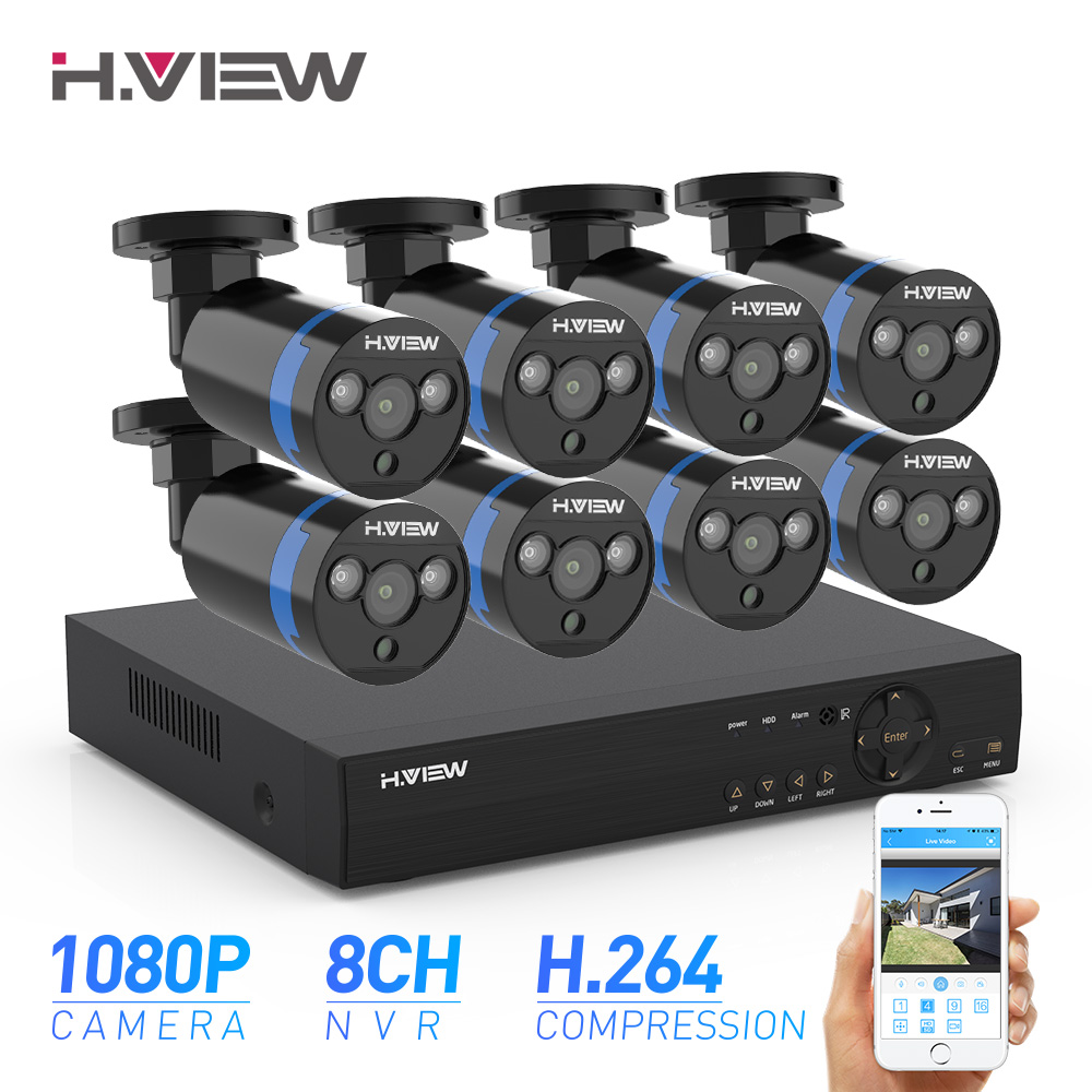 H.View Security Camera System 8ch Video Surveillance Kit 8pcs 1080P CCTV Camera 2.0MP Outdoor Video Surveillance Street