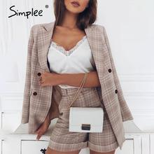 Simplee Tweedelige Blazer Vrouwen Suits Double Breasted Plaid Casual Vrouwelijke Blazer Shorts Set Elegant Office Dames Blazers Sets