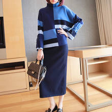 Fashion Sweater Suit Skirt Female Knitted 2019 Autumn and Winter New Turtleneck Oversize Women Pullover Skirt Two-piece Set f205(China)