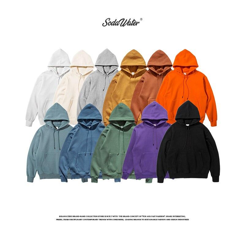 SODAWATER Men Fleece Hoodies Japan Street Style 11 Colors Pure Hooded Sweatshirt 2019 Pullover Thick Oversize Hoodie Tops 167W17