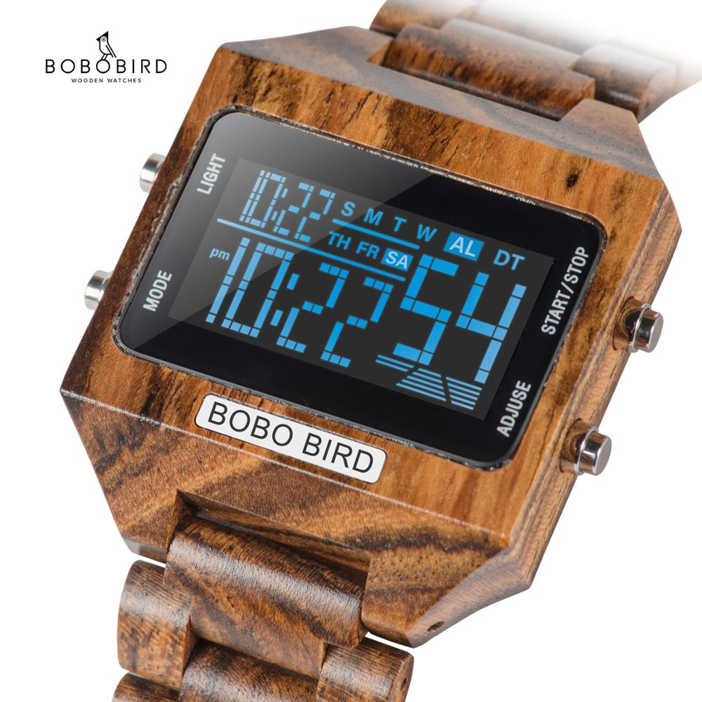 BOBOBIRD Men Digital Watches Wood 4 Variable Colors Multi-function LED Display reloj inteligente hombre with Wood Gift Box V-S30 title=