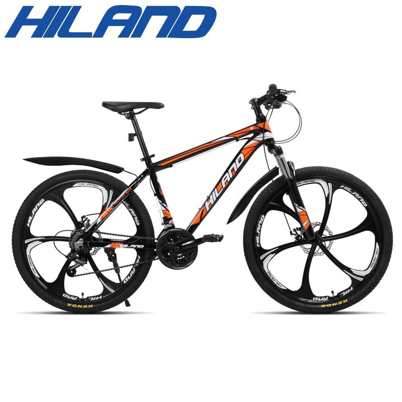 Hiland 26 polegada 21 velocidade liga de alumínio suspensão da bicicleta freio a disco duplo mountain bike bicicleta com serviço e presentes gratuitos