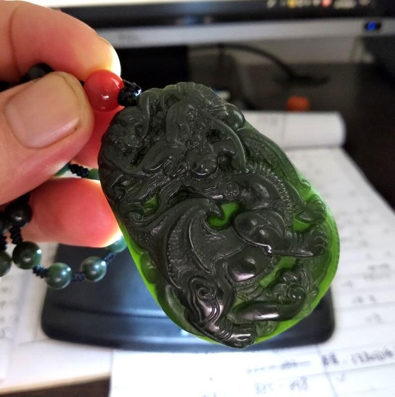 Натуральный бутылочного цвета нефрита собака амулеты подвеска в форме зверей бусина мала Нефритовое ожерелье