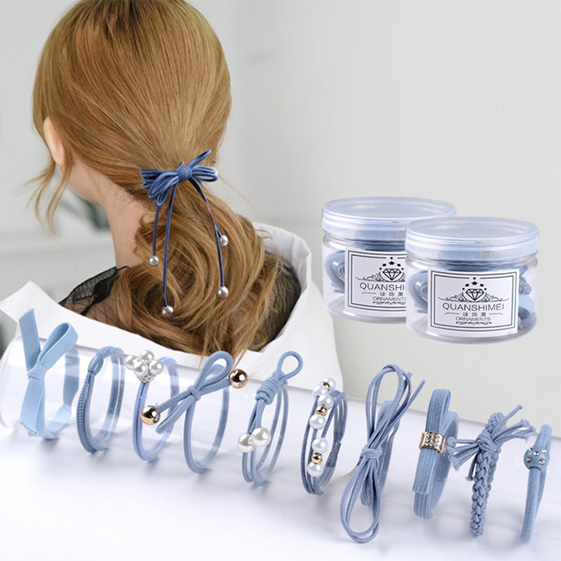12Pcs/Set Korean Style Girls Ribbon Bowknot Hair Ropes Women Elastic Hair Band Fashion Girls Rubber Band Cute Hair Ties Bow