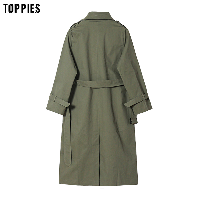 Toppies 2021 Spring Long Trench Coat Women Double Breasted Slim Trench Coat Female Outwear Fashion Windbreaker Toppies 2021 Spring Long Trench Coat Women Double Breasted Slim Trench Coat Female Outwear Fashion Windbreaker
