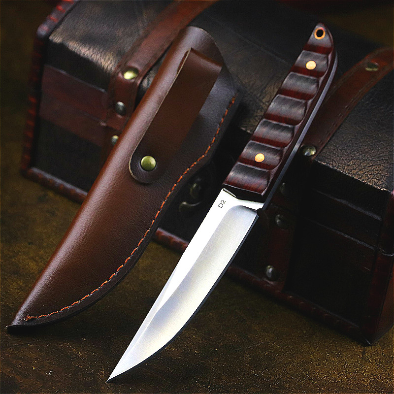 DEHONG  Japan D2 steel high hardness sharp outdoor knife jungle camping straight knife hunting knife collection straight knife