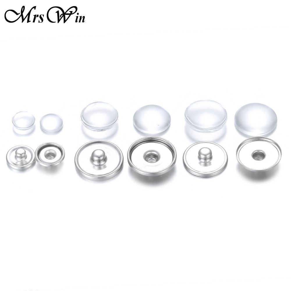 20 pçs/lote snap jóias acessórios achados 12mm 16mm 18mm metal snap botões encaixes & cabochão de vidro redondo para fazer jóias